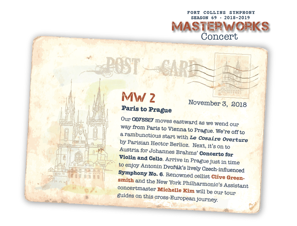 MW 2 - November 3, 2018 - Paris to Prague: Our ODYSSEY moves eastward as we wend our way from Paris to Vienna to Prague. We're off to a rambunctious start with Le Cosaire Overture by Parisian Hector Berlioz. Next, it's on to Austria for Johannes Brahms' Concerto for Violin and Cello. Arrive in Prague just in time to enjoy Antonin Dvoák's lively Czech-influenced Symphony No. 6. Renowned cellist Clive Green-smith and the New York Philharmonic's Assistant concertmaster Michelle Kim will be our tour guides on this cross-European journey.
